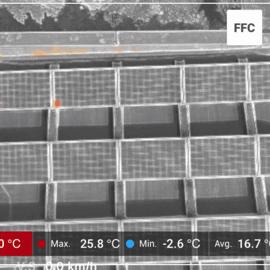 Msx snímok s teplotami solárnych panelov